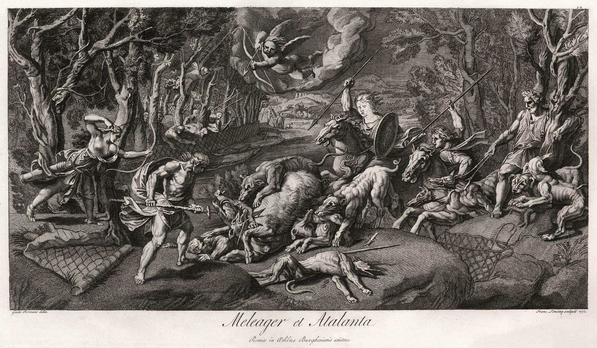 Meleagro y Atalanta czando al jabalí de Caledonia, se puede ver que la unica mujer que participa en la lid es Atalanta.