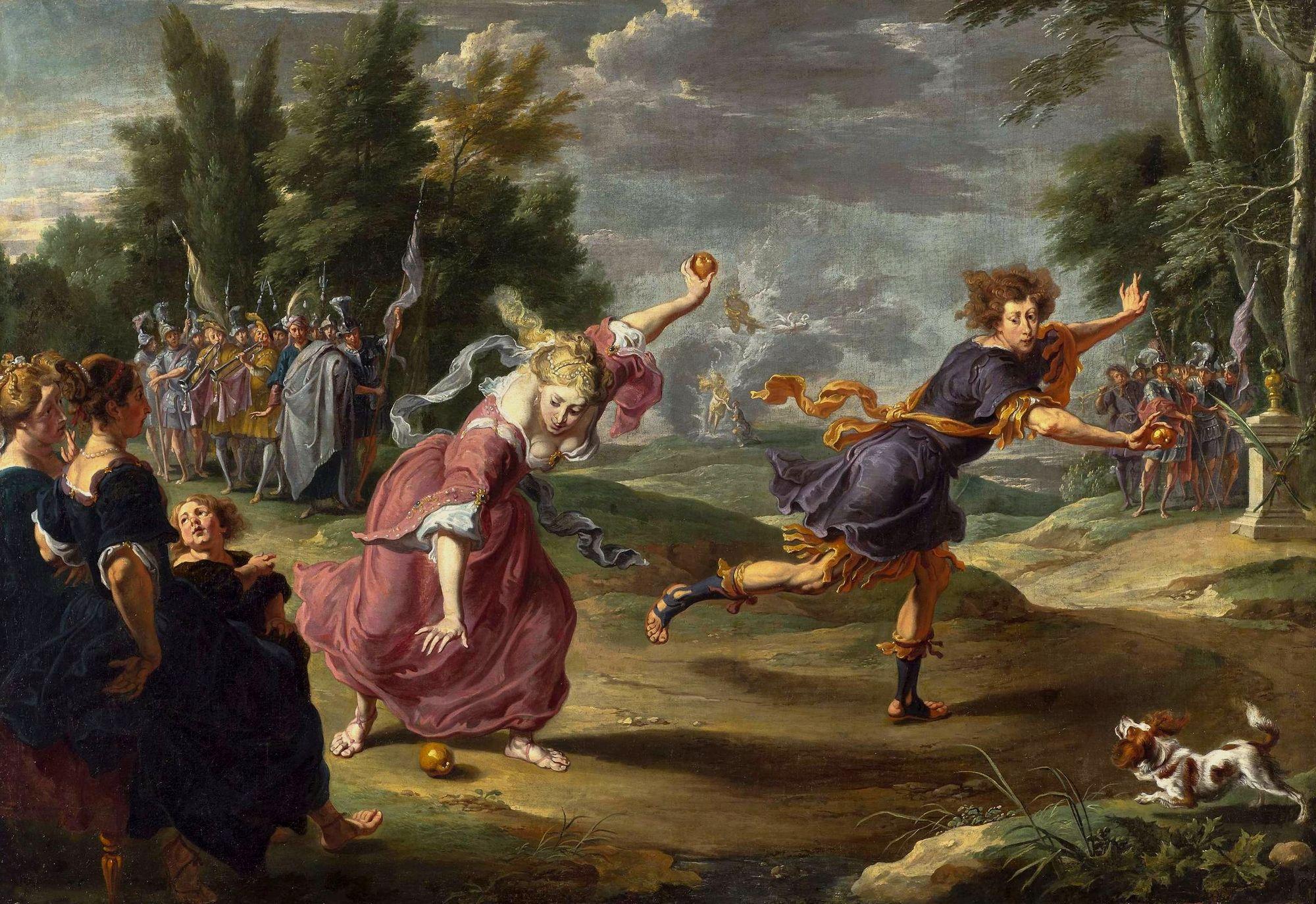 Atalanta compitiendo contra Hipómenes, mientras este deja caer las manzanas de oro que Afrodita la diosa del amor le había entregado para poder conseguir el objetivo de ganar en la carrera contra la veloz mujer. Pintura de Willem Van Herp.