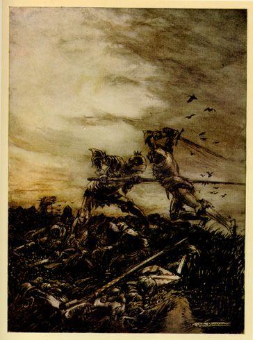 La batalla entre Arturo y Mordred marca el final de las aventuras de Arturo y el inicio de su leyenda. Pintura de Arthur Rackman.
