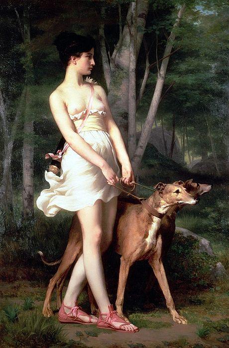 Diana (Artemisa) representada con perros de caza, en una pintura de Gaston Casimir Sant-Pierre