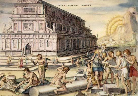 Grabado del templo de Artemisa según Philip Galle