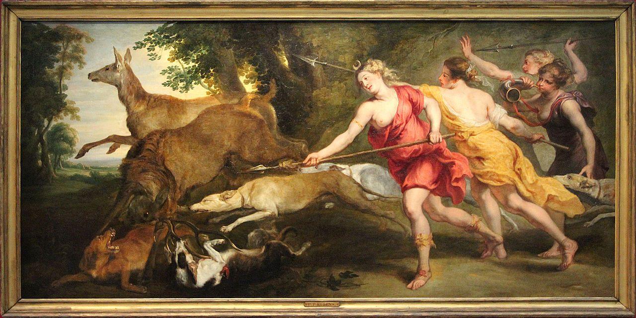 Diana cazando con sus ninfas en una pintura de Peter Paul Rubens.