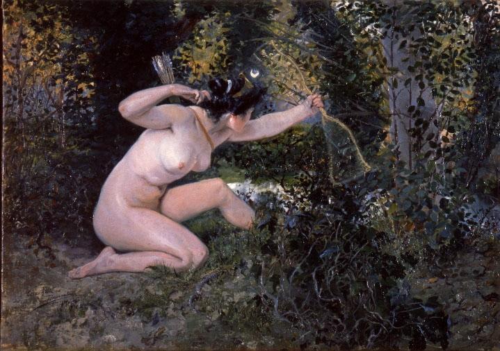 Diana (Artemisa) cazando en el bosque de César Álvarez Dumont