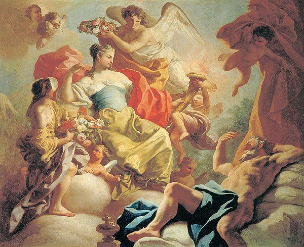 Aurora la diosa del amanecer y Titono el principe troyano, la diosa terminaria casandose con el príncipe. Pintura de Francesco de Mura.