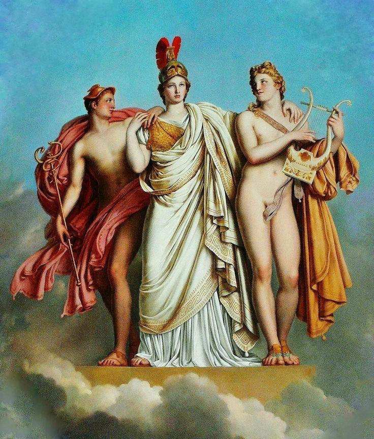 Minerva entre Apolo y Mercurio pintura de Anne-Louis Girodet-Trioson. Podemos notar como se representa a Atenea vestida como guerrera con un yelmo colocado sobre su cabeza.