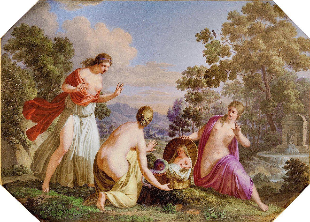 La hijas de Cecrops encuentran a Erictonio, el hijo de Atenea y Hefesto, un ser de apariencia monstruosa, con cola de serpiente, pero dotado de una sabiduría suprema, por lo que terminaría siendo uno de los reyes más sabios de Atenas.