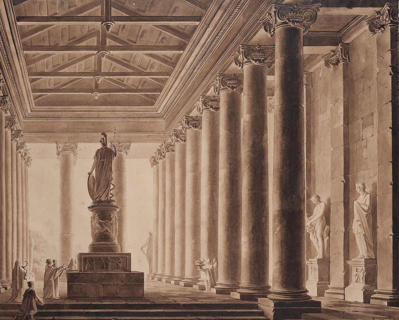 Pintura de Ludvík Kohl en la que se retrata el interior del Partenón el templo más importante dedicado a la diosa Atenea.