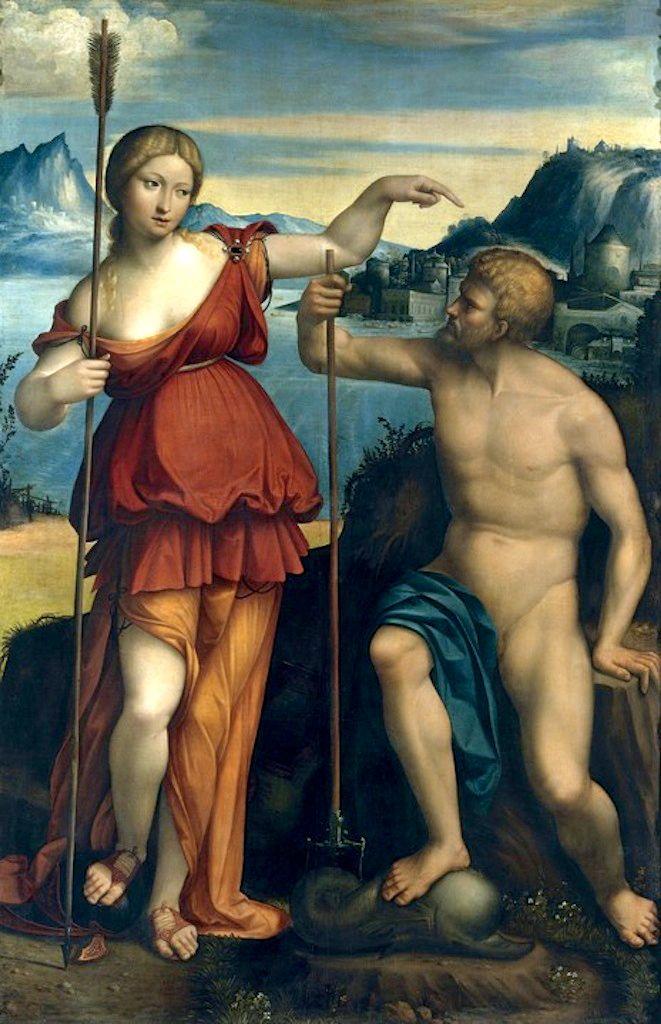 Atenea y Poseidón luchan por el control de Atenas, pintura de Benvenuto Tisi da Garofalo.