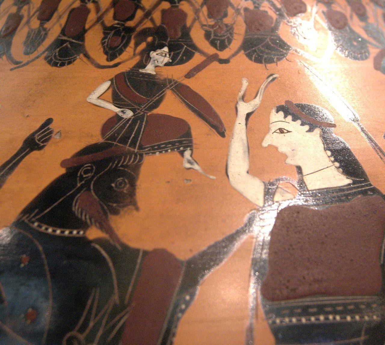Atenea naciendo armada de la cabeza de Zeus, en la pintura presente en una ánfora ática se evidencia a una mujer atendiendo este nacimiento, posiblemente se trate de Ilitía la diosa de los nacimientos en la mitología griega.