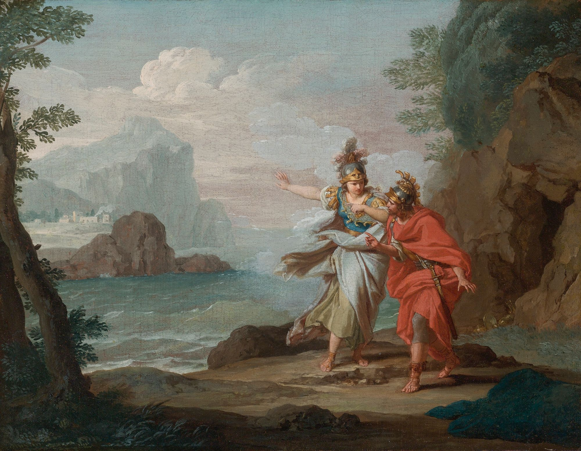 Atenea revelándose ante Odiseo y mostrándole la isla de Itaca. Pintura de Giuseppe Bottani.