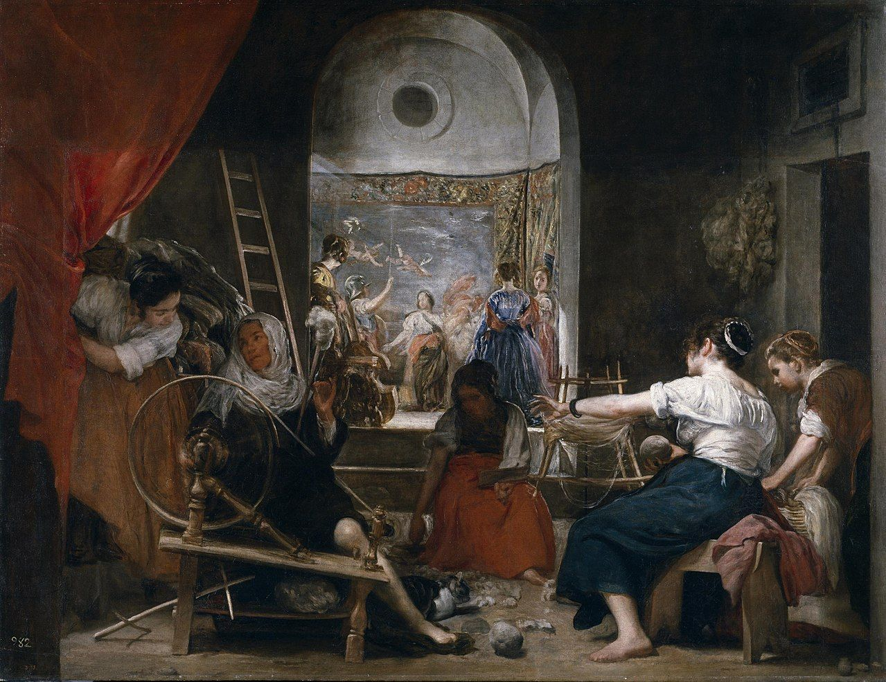 Las holandesas, pintura de Diego de Velázquez que muestra en momento en que Aracne es convertida en Araña por Atenea.