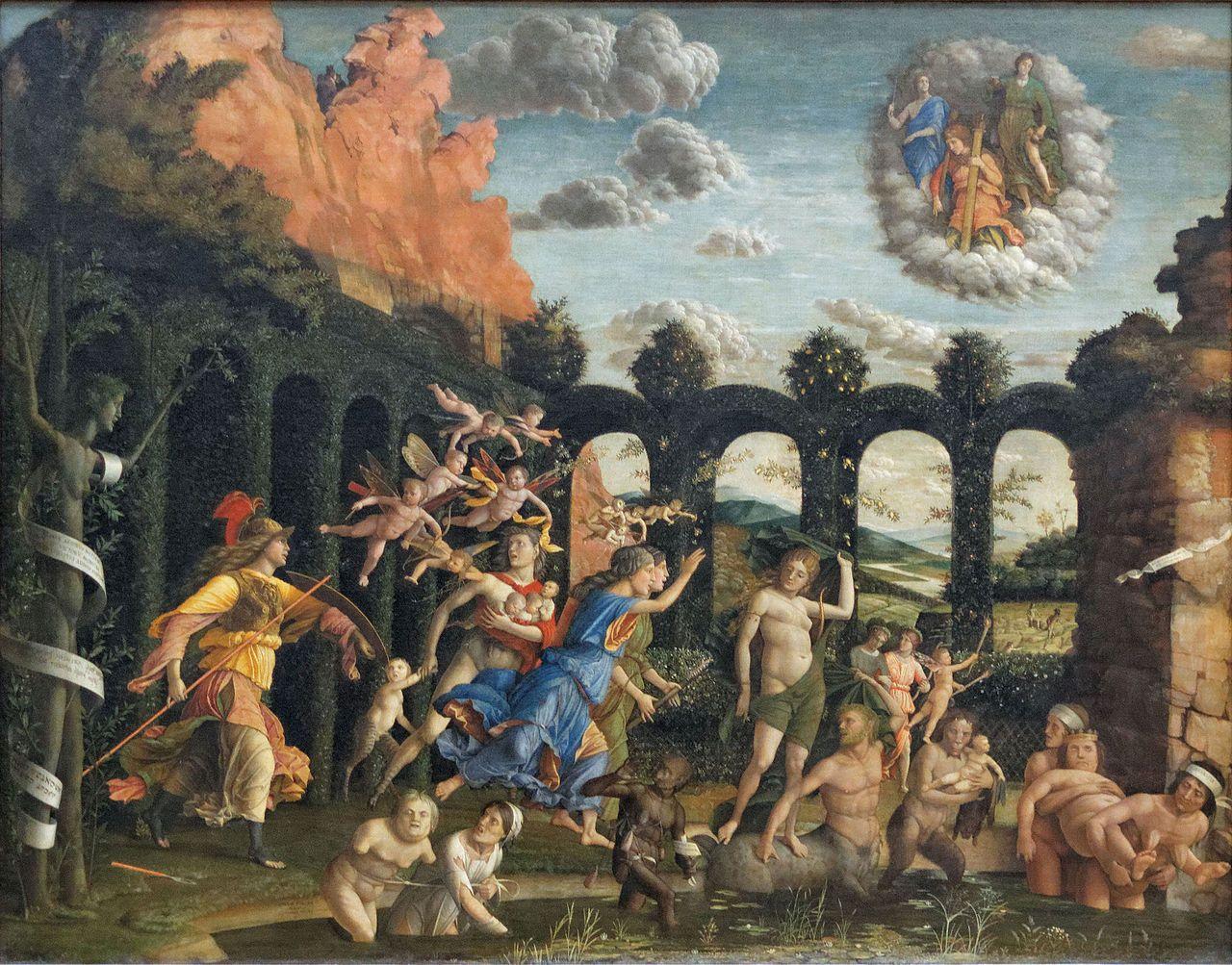 El triunfo de la virtud. Pintura de Andrea Mantegna, en la que se retrata a Atenea hachando fuera del jardín de la mente a los vicios, en la parte superior observan la Justicia, la Fortaleza y la Templanza, y junto a la diosa se puede ver a Dafne convertida en Laurel, ambas representación de la castidad y la pureza.