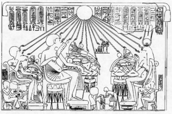 Escena de un banquete en una tumba de la ciudad de Amarna, en lo alto se puede ver la representación de Aten, bendiciendo la comida.