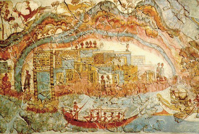 Fresco minóico que representa a Akrotiri la capital de la isla de Thera, que segun los estudios más recientes sería el orígen del mito de la Atlántida.