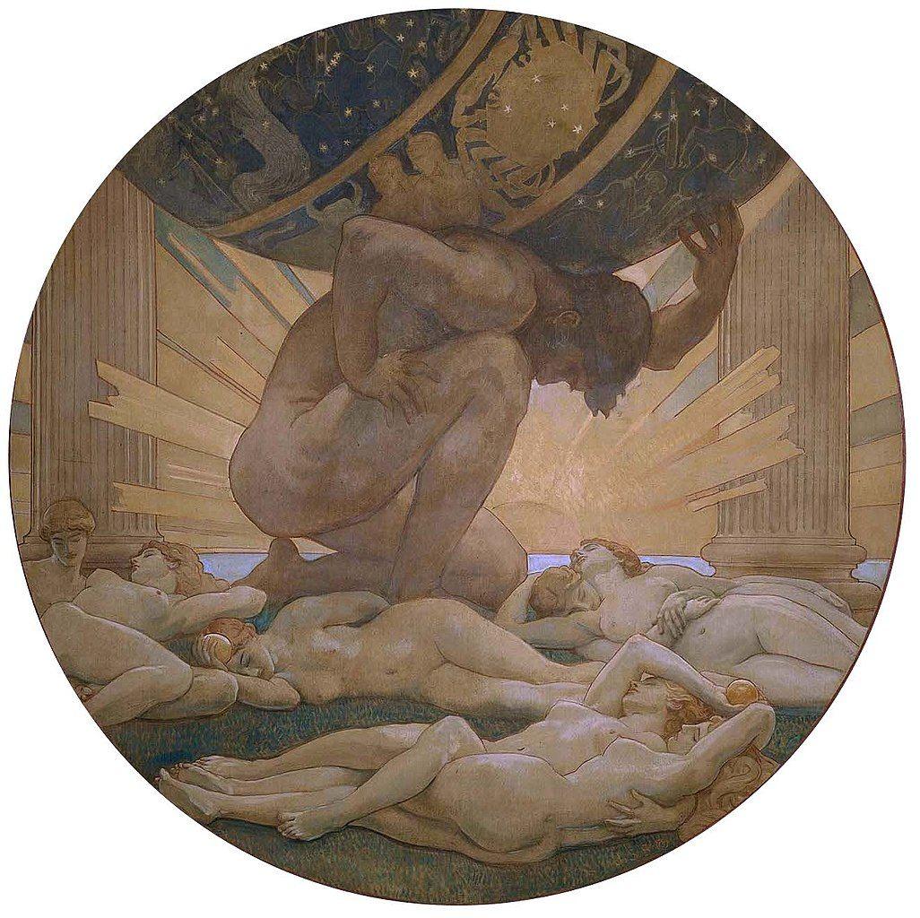 Atlas y las Hespérides pintura de John Singer Sargent.