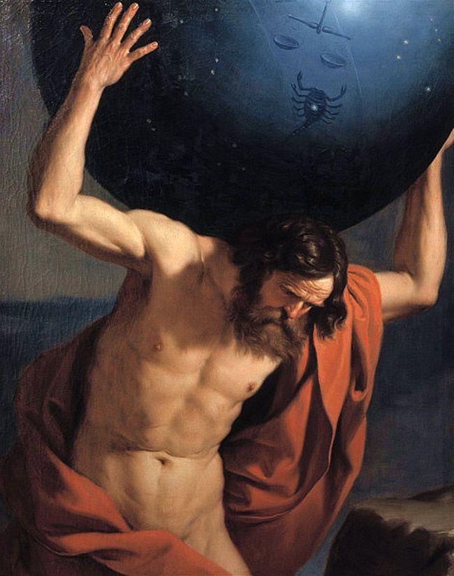Atlas manteniendo el cielo sobre sus hombros. Pintura de Guercino.