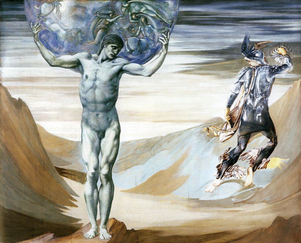 Atlas transformado en piedra por Perseo. Pintura de Edward Burne Jones.