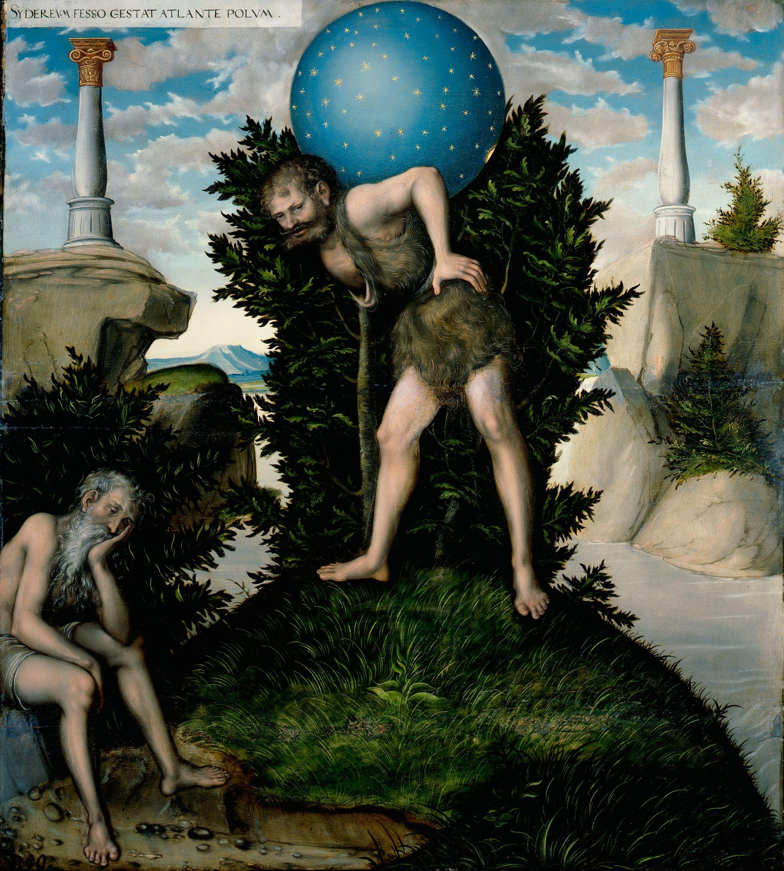 """Hércules y Atlas. Pintura de Lucas Cranach """"El viejo""""."""