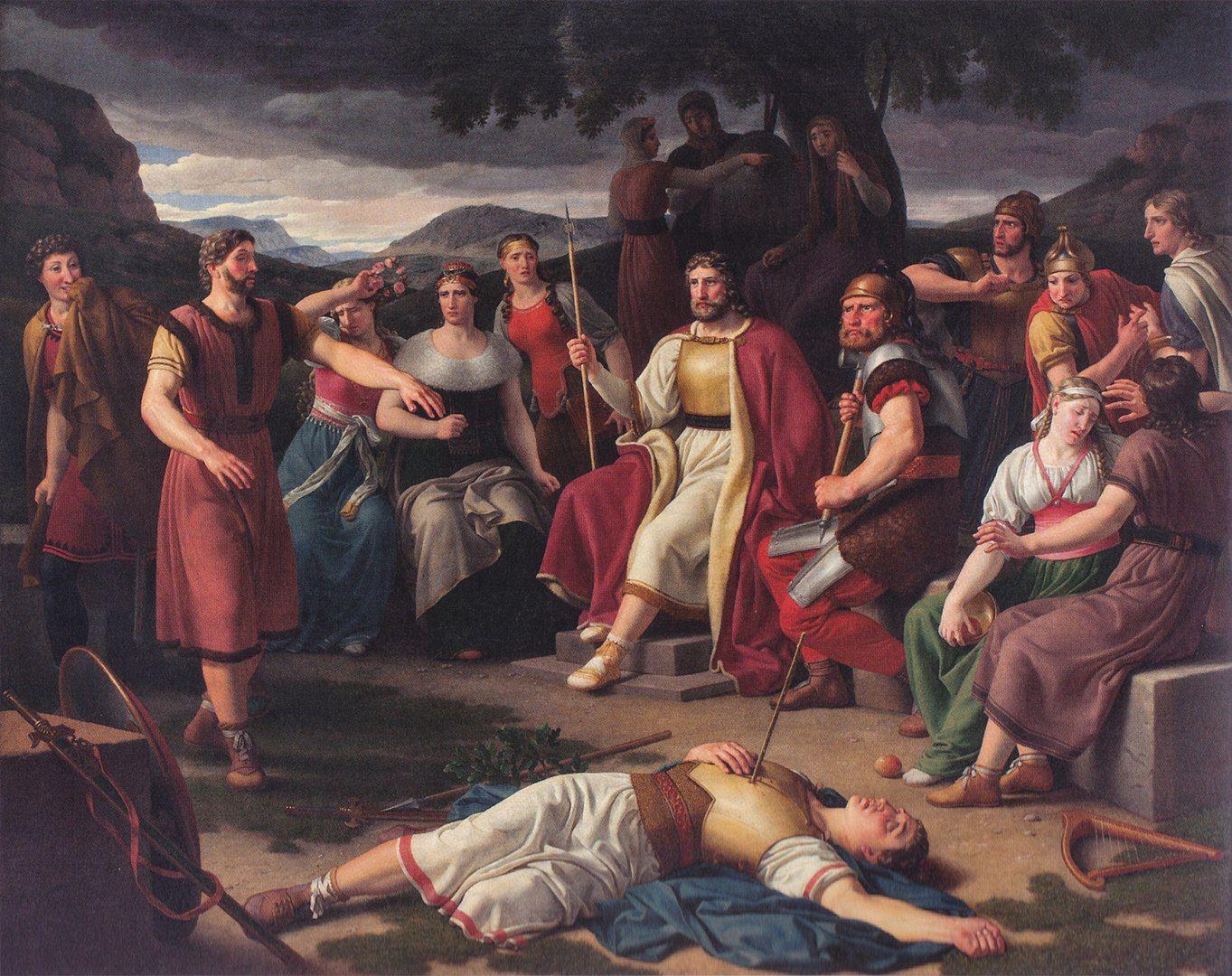 Los Aesir rodean el cuerpo muerto de Baldr en una pintura de Christoffer Eckersberg.