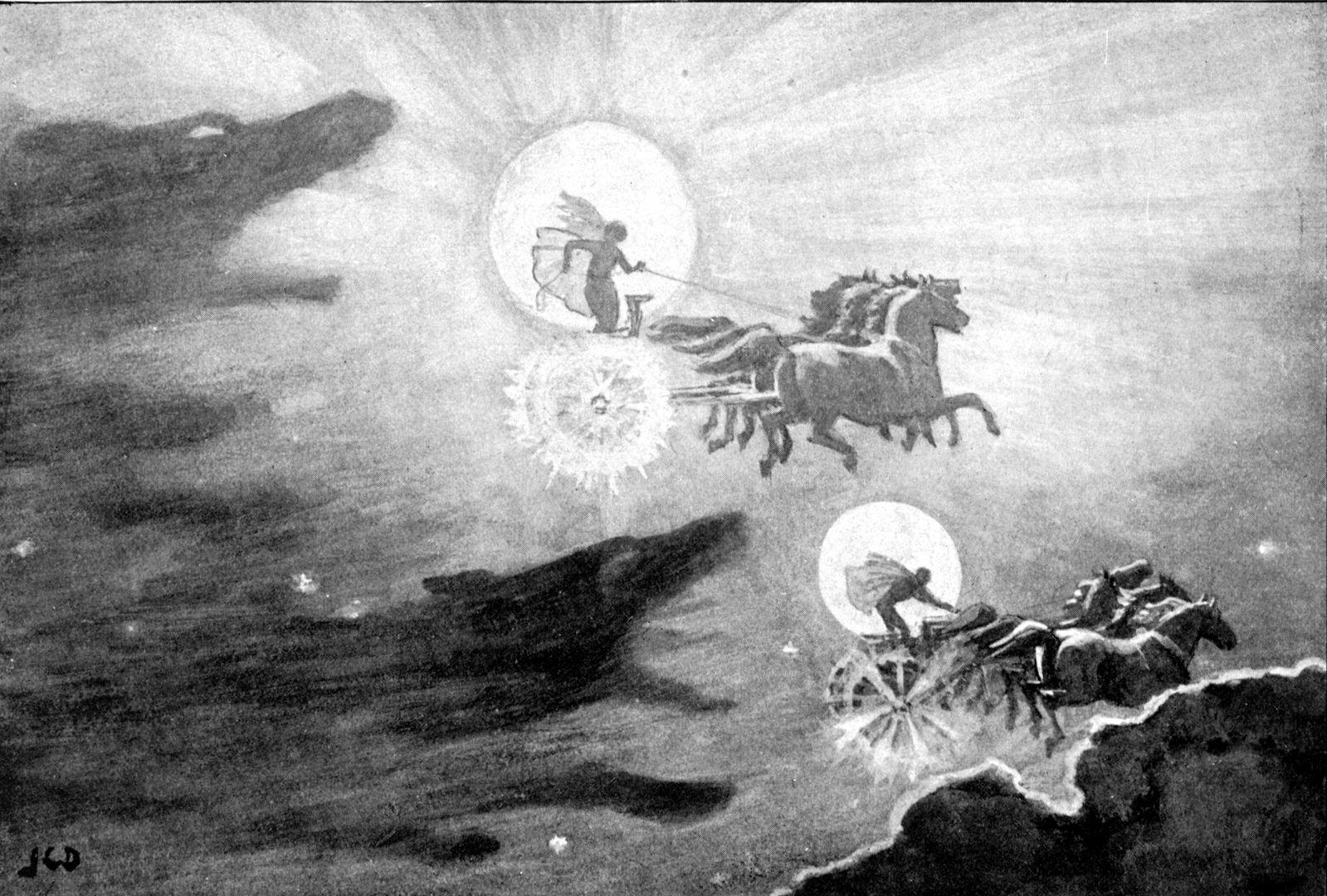 Los lobos persiguiendo a Sól y Máni