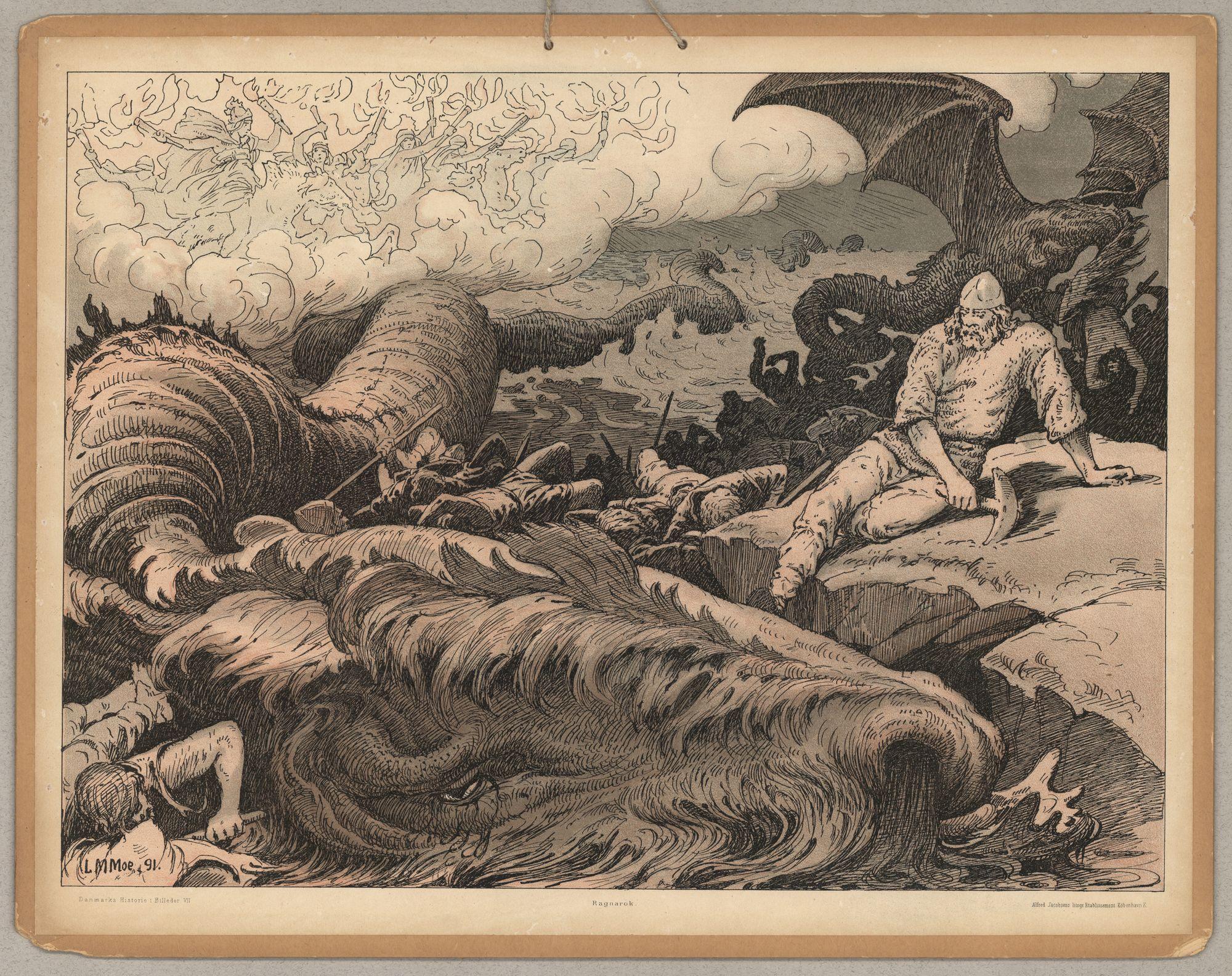 Representación del Ragnarök en una pintura de Luis Moe.