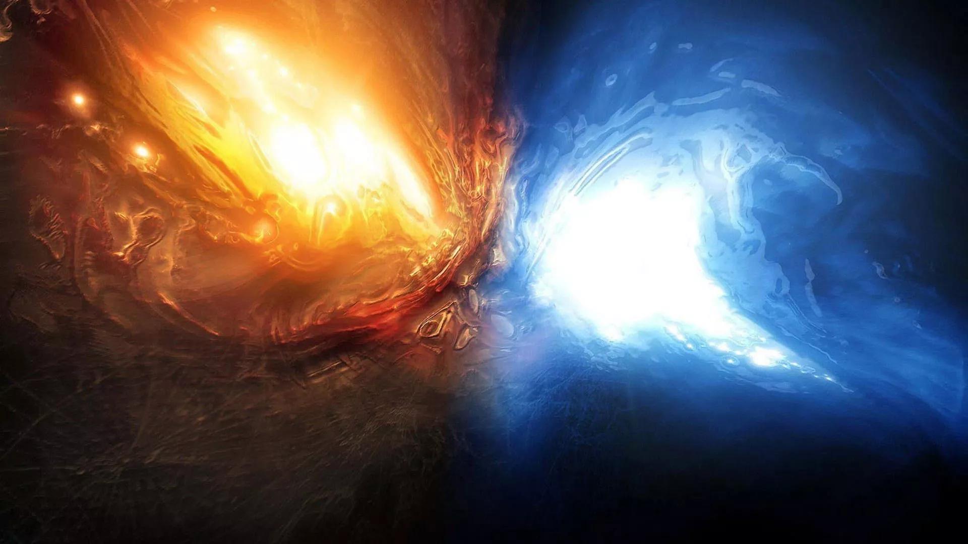 En el oscuro abismo que dio origen a toda la vida en la mitología nórdica se encontraban las fuerzas del fuego (Muspelheim) y el hielo (Niflheim).