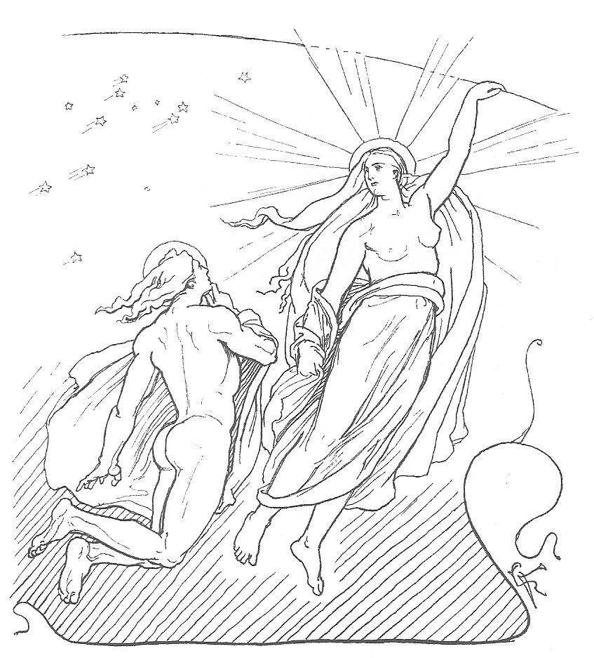 Máni y Sól en un gráfico realizado por Lorenz Frølich en 1895.