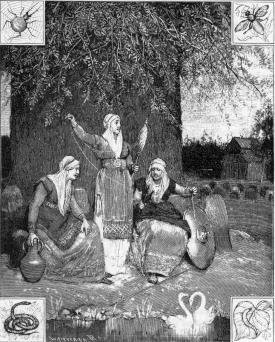 Las nornas hilando el destino en las raices del Yggdrasil. Pintura de L.B. Hansen.