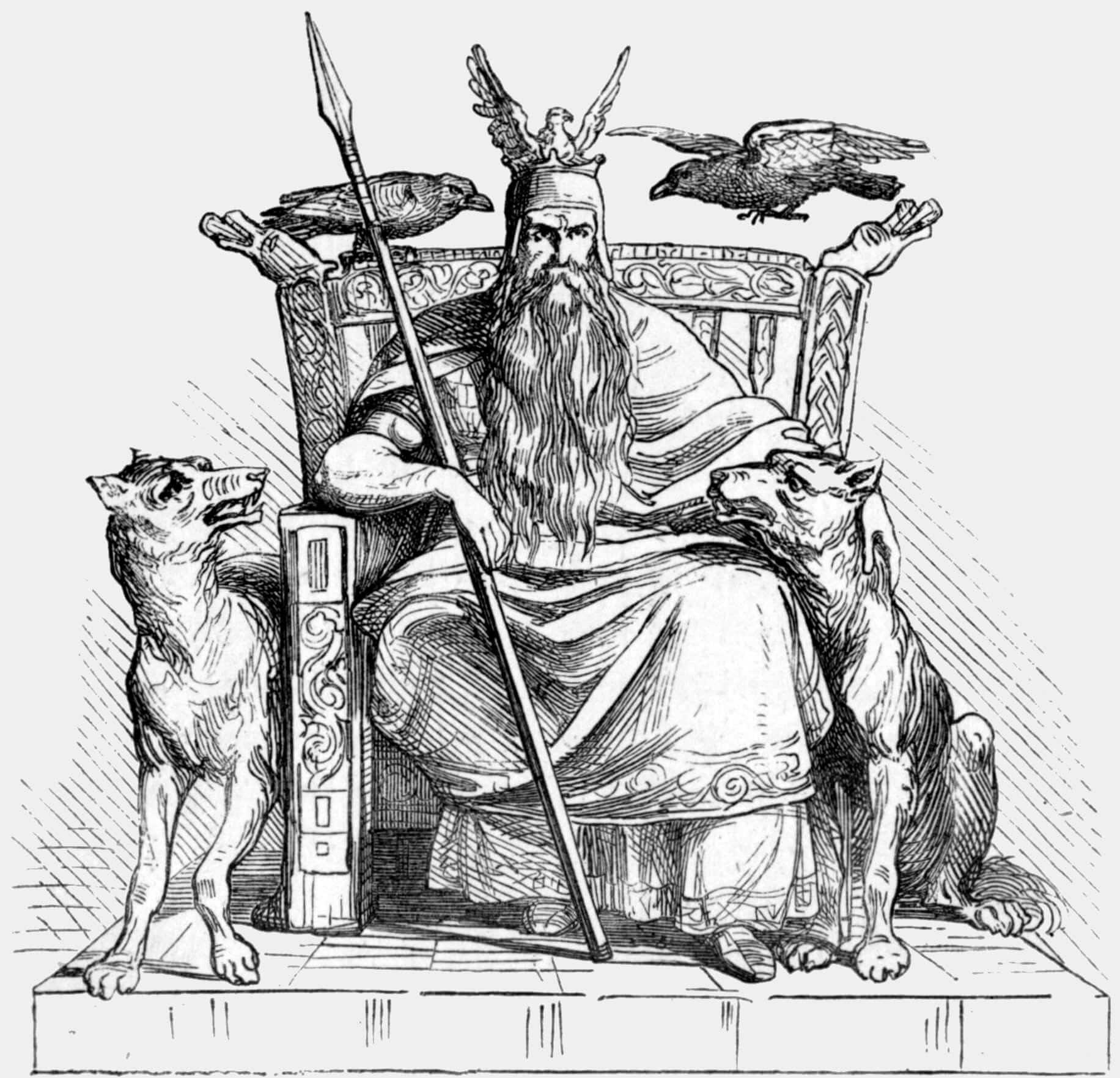 Odin representado sentado en su trono, armado con su lanza, acompañado por sus dos lobos Geri y Freki; y sus dos cuervos Hugin y Munin. Autor desconocido.
