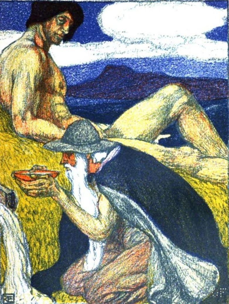 Odín bebiendo del pozo de Mimir, para poder acceder a este pozo tuvo que entregar su ojo como pago por beber del pozo, pintura de Robert Engels,