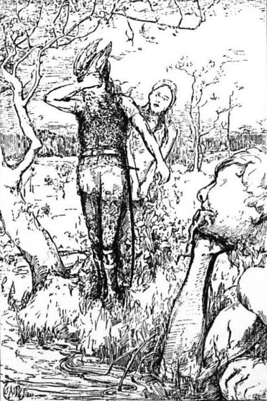 Odín llegando al pozo de Mimir en busca de un trago del pozo de la sabiduria pintura de John Angell James Brindley.