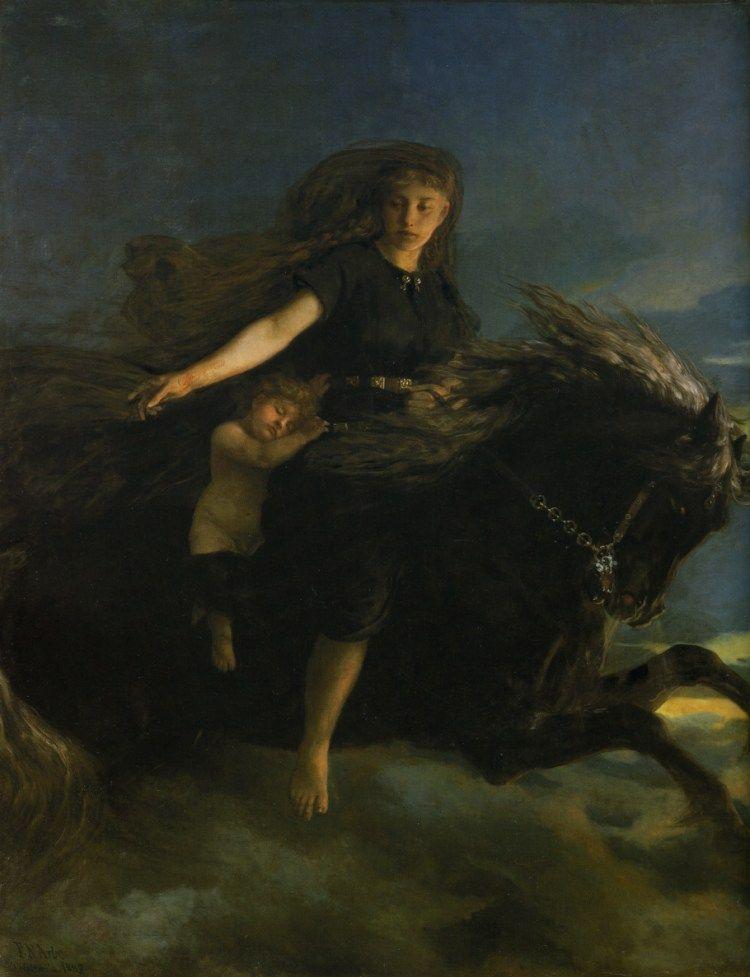 La giganta Noche cabalgando en su caballo Hrímfaxi, su hijo el Día cabalgaba en un caballo blanco llamado Skinfaxi. Pintura de Peter Nicolai Arbo.