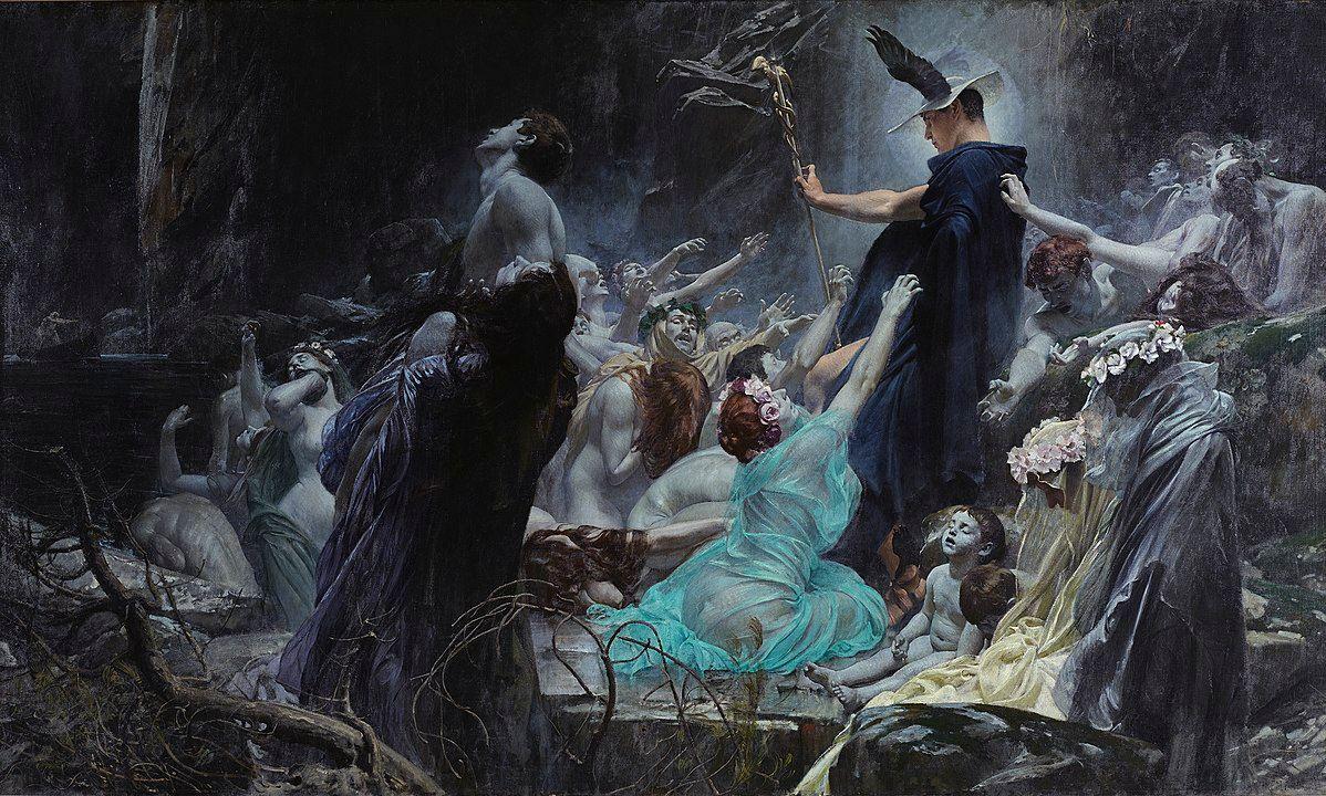 Hermes actuaba como una deidad que comunicaba el mundo superficial con el inframundo, es por ello que el segundo día del festival de Antesteria, estaba destinado a él, ya que por medio de su acción las Keres podían ser apaciguadas y devueltas al inframundo.