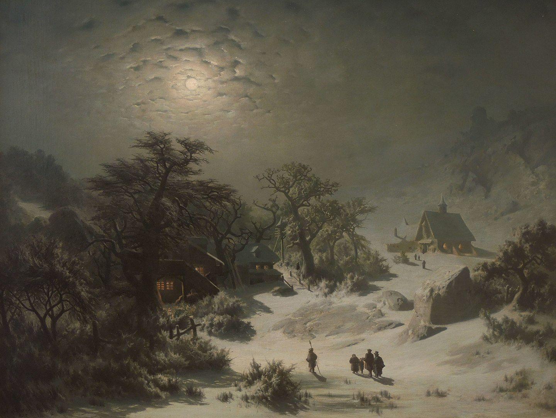 El invierno era una estacion relativamente dura en el hemisferio norte, que se relacionaba con la oscuridad y la muerte, de ahí que muchos pobladores tomaran la llegada de este tiempo como una epoca en la que la oscuridad y el miedo estaban en contacto con el mundo. Pintura de Adolf Kosárek.