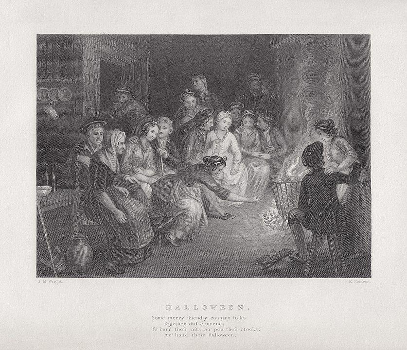 Ilustración realizada por Robert Burns, que aompaña al poema Halloween de JM Wright y Edward Scriven. En este se retrata una de los costumbres típicas de esta festividad, la narración de historias alrededor de una fogata.