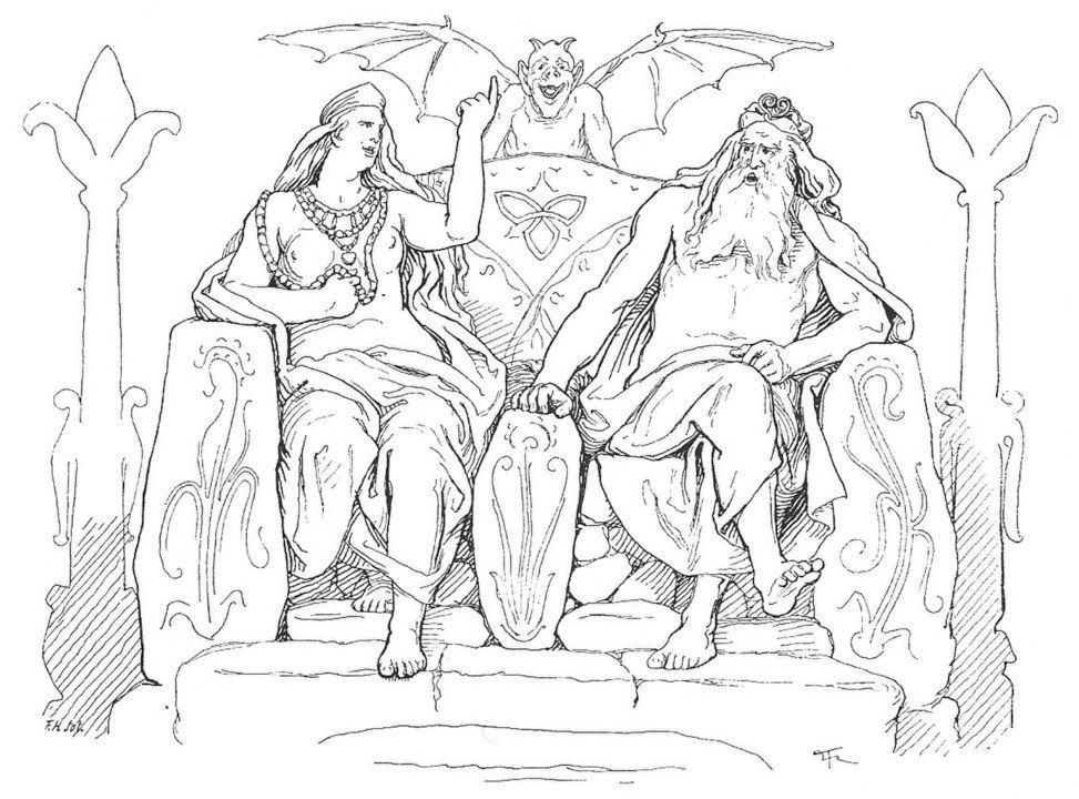 Frigga y Odín conversando acerca de la vida de sus dos protegidos. Pintura de Lorenz Frolich.