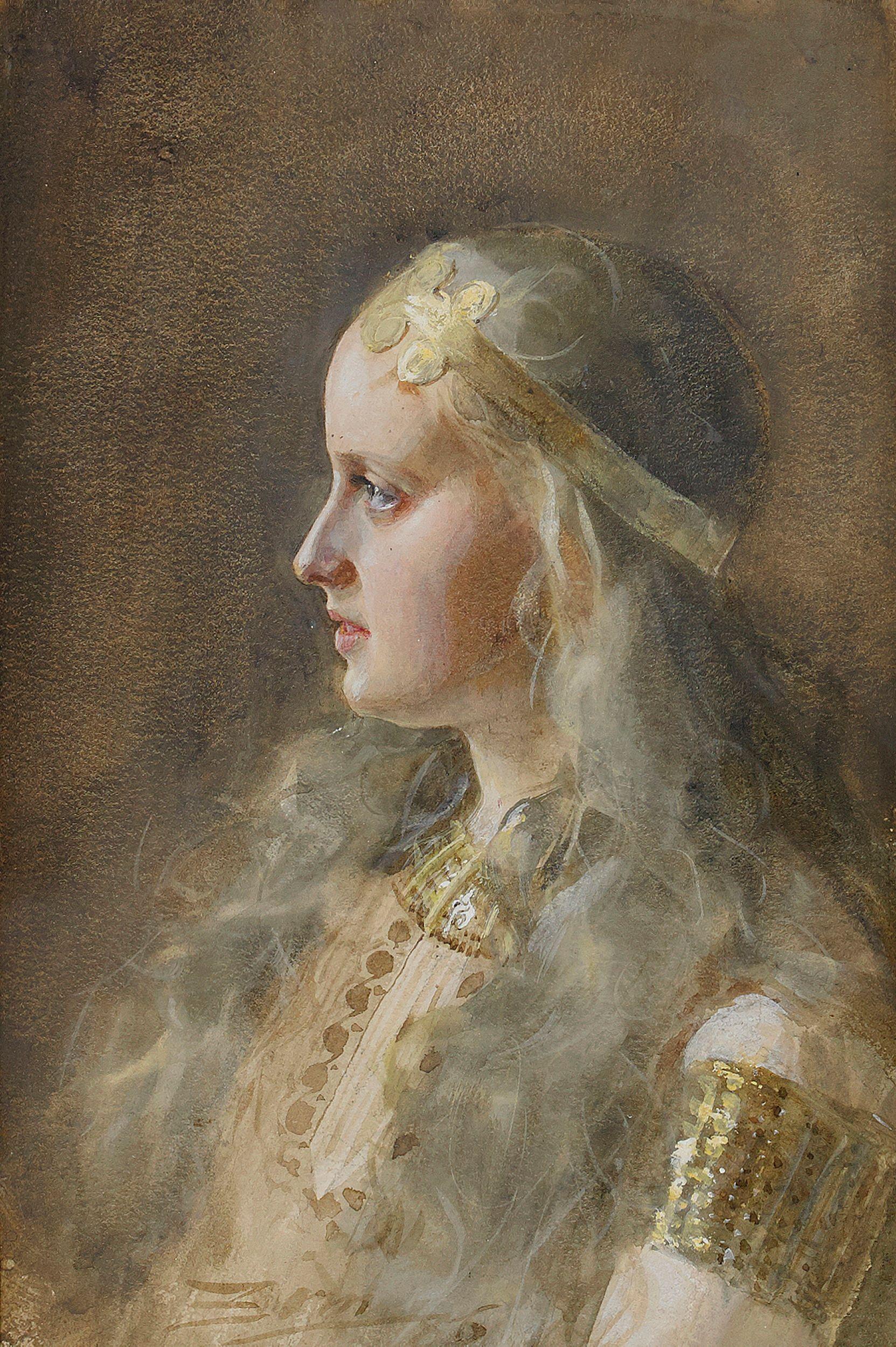 Gunnlod la hija de Suttung en una pintura de Andres Zonn de 1886