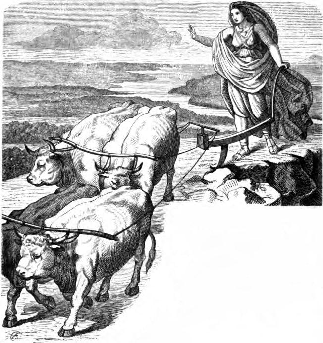 Gefjun arando la tierra con sus bueyes, pintura de Carl Ehrenberg. 1882.