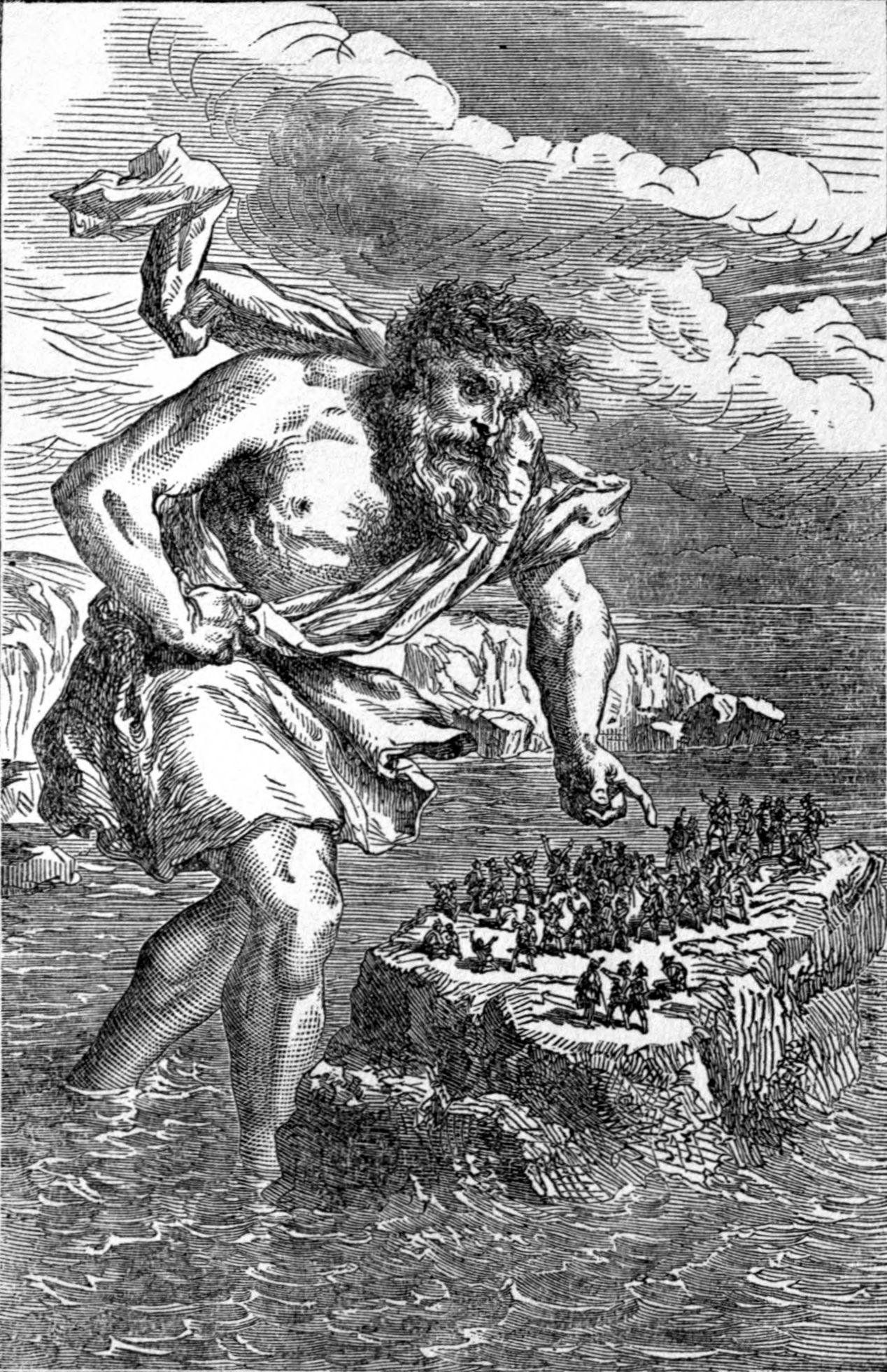 Suttung y los enanos. Imagen del libro The Heroes of Asgard : Tales from Scandinavian Mythology publicado en 1891.