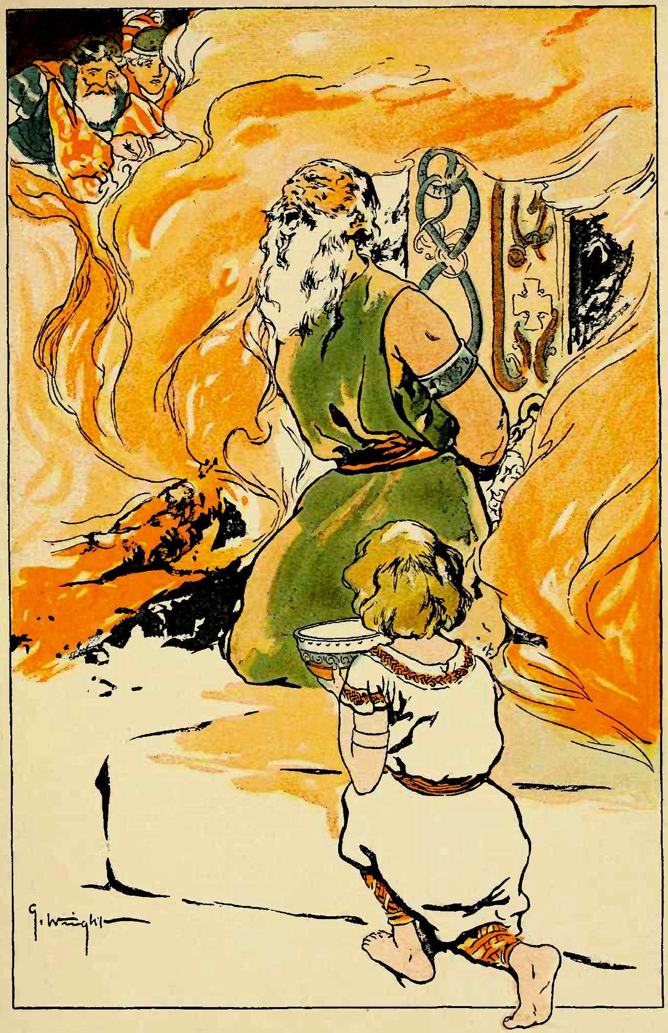 Grimnir, el nombre que tomó Odín para acudir ante Geinord, siendo torturado envuelto en llamas, mientras un jóven Agnar le entrega un poco de agua. Pintura de George Wright.
