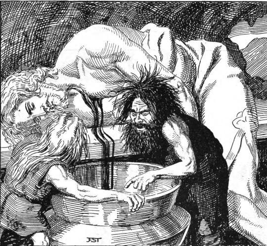 Fialar y Galar preparan el hidromiel a partir de la sangre de Kvasir.