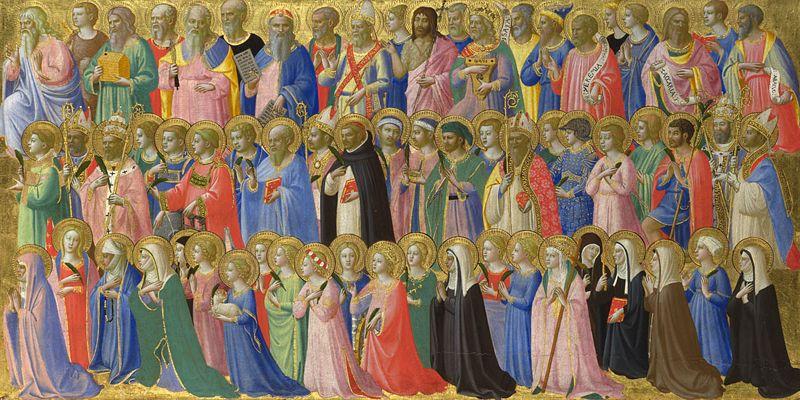 Pintura de Fray Angelico en la que se representa a los santos conocidos hasta la fecha, asi como a los precursores del cristianismo, figuras del Antiguo Testamento que rodean a Jesús.