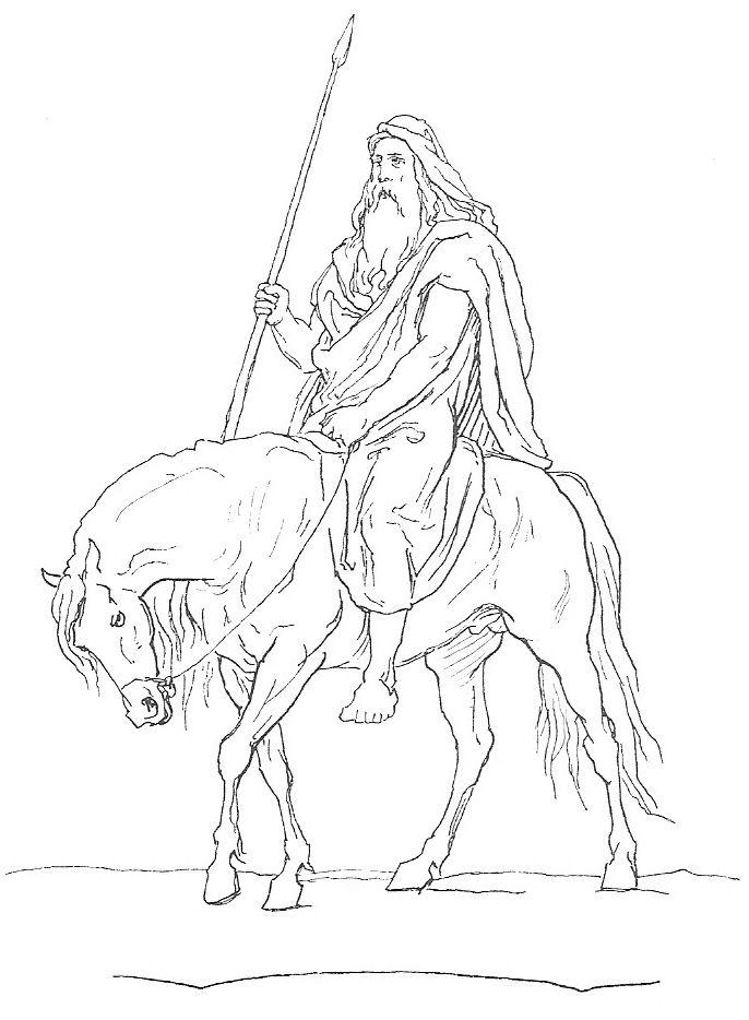 Imagen de Lorenz Frolich en la que se representa a Odin a aballo llevando en su mano su lanza Gungnir.