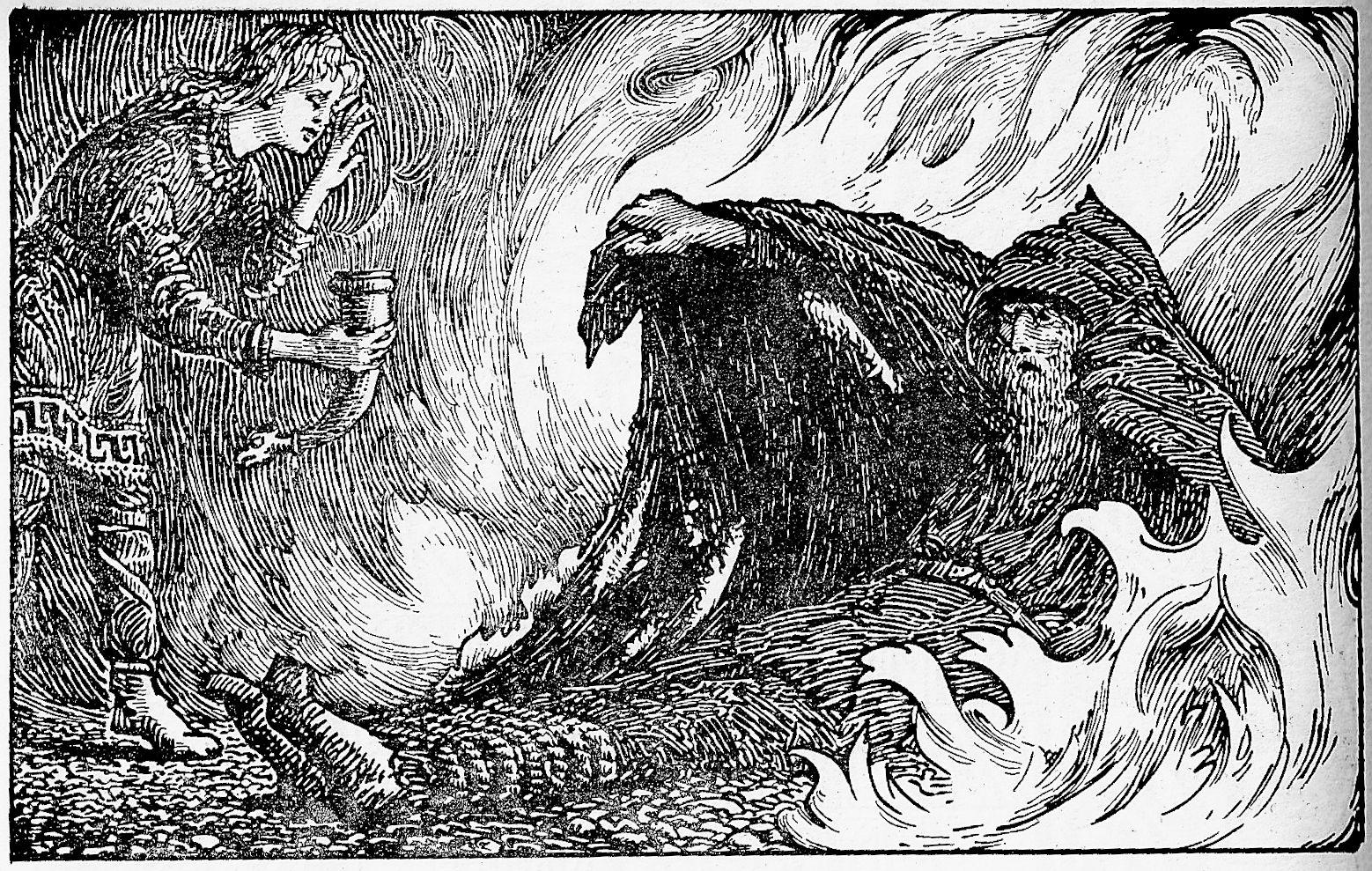 Odín envuelto en llamas mientras Agnar se acerca con un cuerno lleno de agua para saciar la sed del dios. Pintura de W.G. Collingwood.