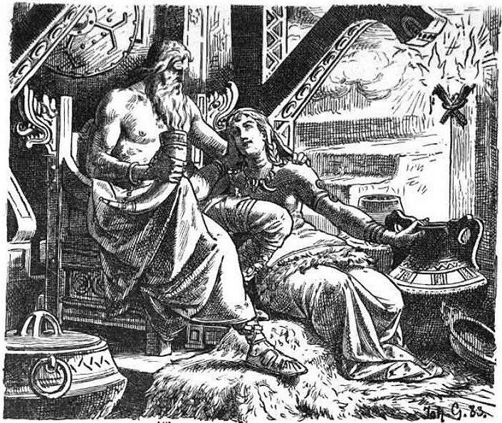 Odín tomando el hidromiel mágico en un cuerno, mientras abraza a Gunnlod, la hija del gigante Suttung.