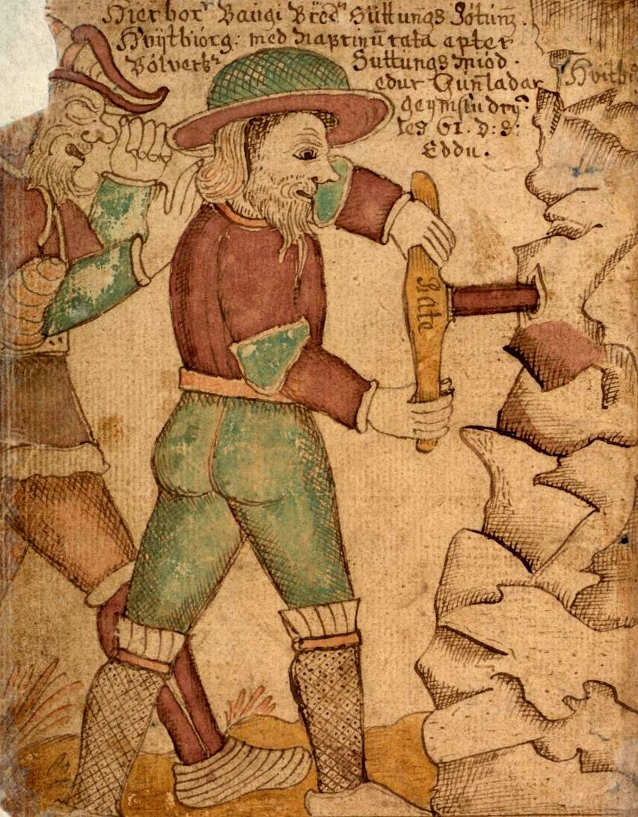 Baugi taladrando la entrada de la cueva para que Odín pueda acceder al hidromiel mágico.