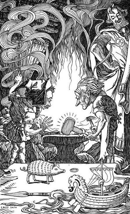 Brok y Sindri ante el tercer regalo el martillo de Thor, el Mjolnir, se pueden ver sobre la mesa tambien al jabalí Gullinbursti, la lanza Gungnir, el brazalete Draupnir y el barco Skidbladnir.