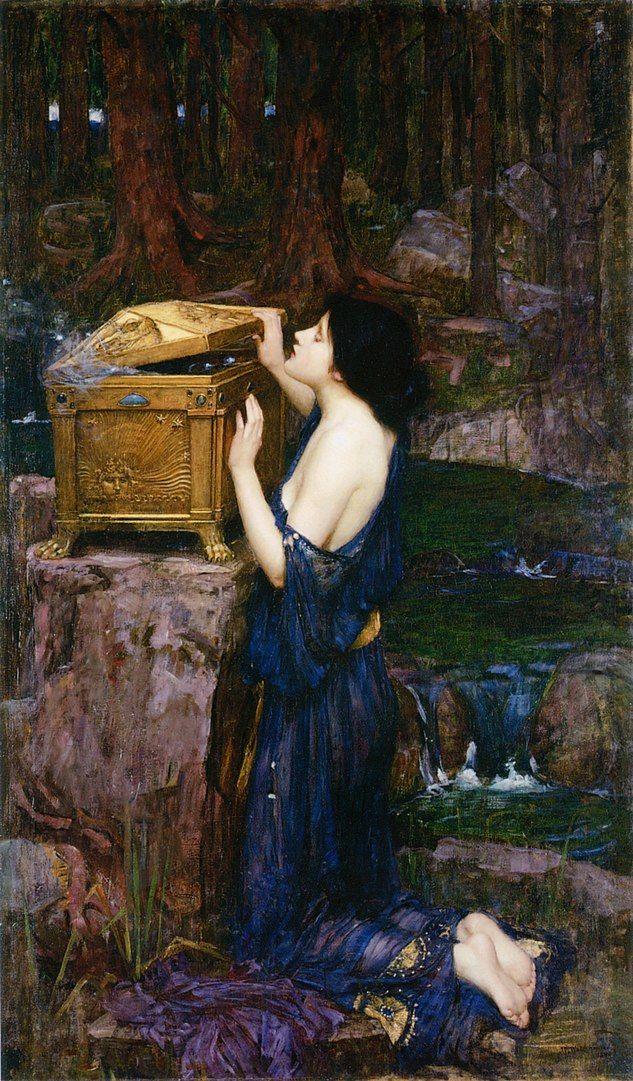 Pandora abriendo el anfora con los males de la humanidad. Pintura de John William Waterhouse.
