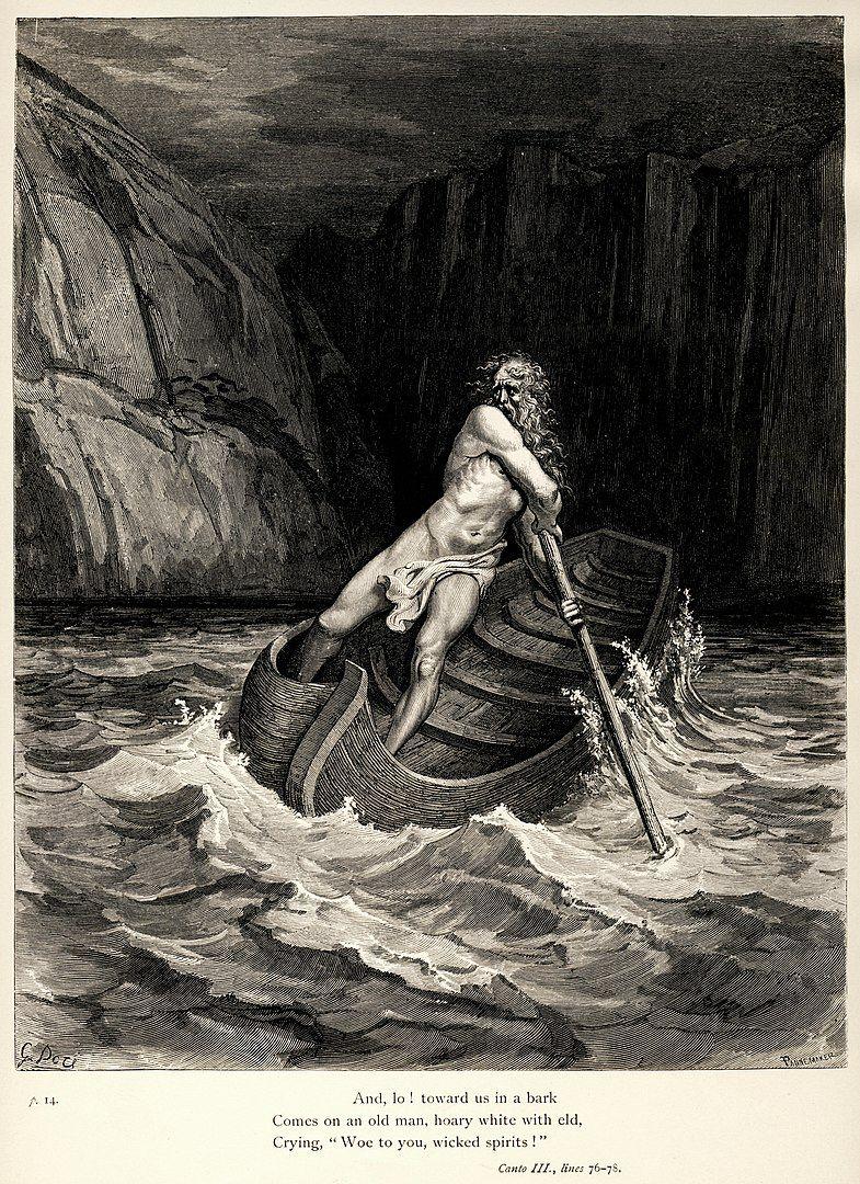 Caronte representado por Gustave Doré.