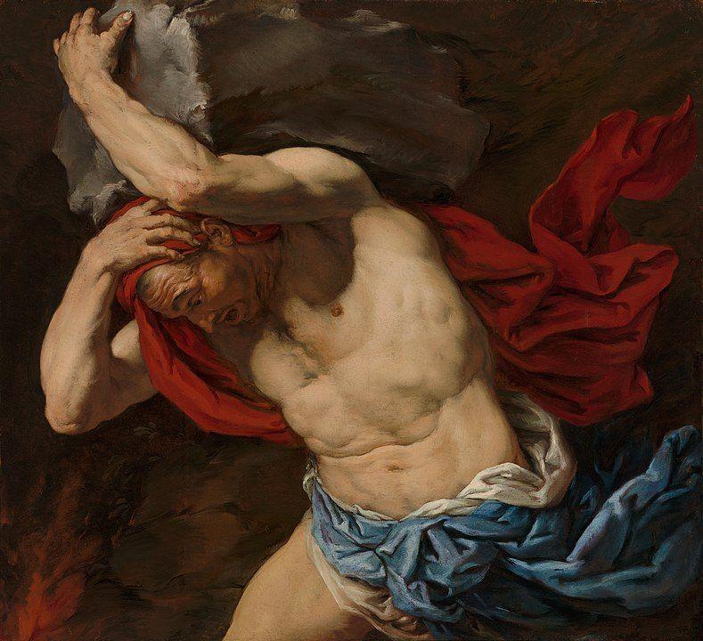 Sísifo condenado a llevar una roca sibre su espalda por toda la eternidad, en una pintura de Antonio Zanchi.